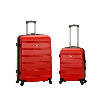 Rockland Melbourne Expandable 2-Piece Hardside Spinner Luggage Set, Red