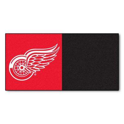 NHL - Detroit Red Wings Red and Black Pattern 18 in. x 18 in. Carpet Tile (20 Tiles/Case)
