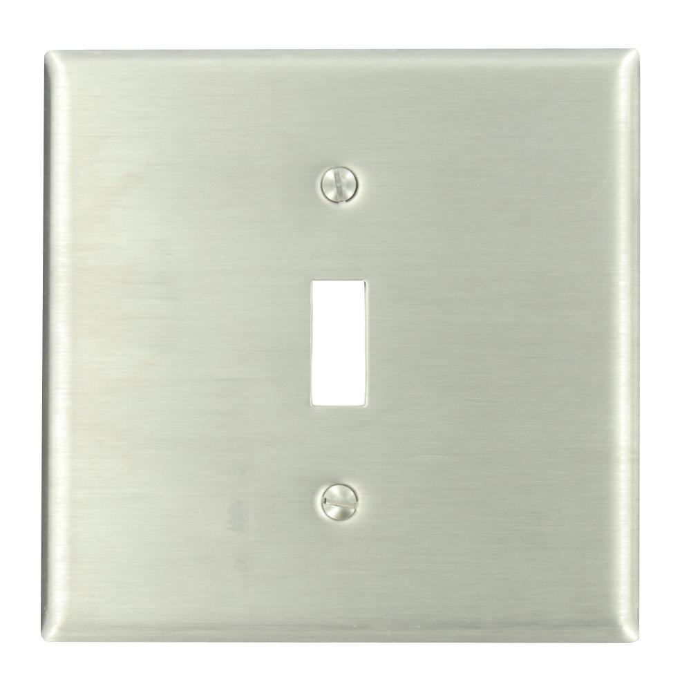 2-Gang 1-Toggle Centered Stainless Steel Wall Plate, Stainless Steel