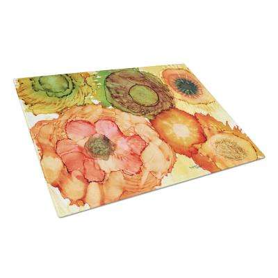 Abstract Flowers Blossoms Tempered Glass Large Heat Resistant Cutting Board