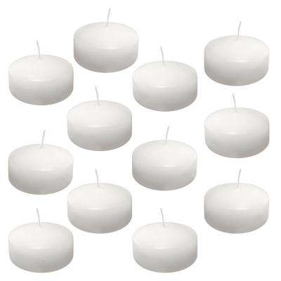 1.75 in. x 3 in. Extra Large White Floating Wax Candles (Box of 12)