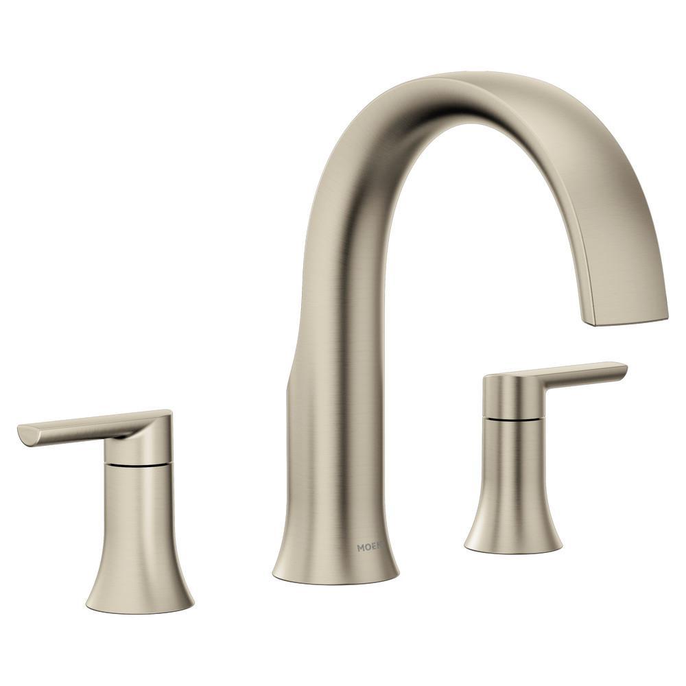 MOEN Doux 2-Handle Deck Mount Roman Tub Faucet Trim Kit in Brushed Nickel (Valve Not Included)
