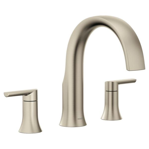 Doux 2-Handle Deck Mount Roman Tub Faucet Trim Kit in Brushed Nickel (Valve Not Included)