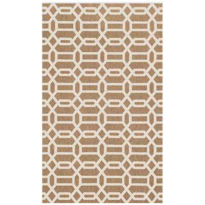 Washable Fretwork Rich Tan 3 ft. x 5 ft. Stain Resistant Area Rug