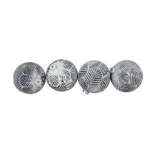 4 in. (100 mm) Antique White and Gray Glass Ball Christmas Ornaments (4-Count)