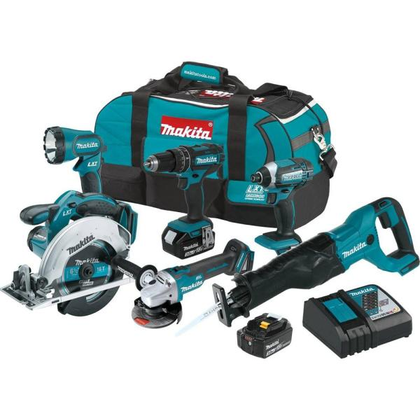 18-Volt LXT Lithium-Ion Cordless Combo Kit (6-Piece) with (2) Battery (3.0Ah), Rapid Charger and Tool Bag