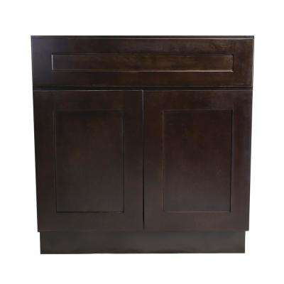 Brookings Plywood Assembled Shaker 42x34.5x24 in. 2-Door Sink Base Kitchen Cabinet in Espresso