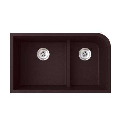 Undermount Granite 32 in. 0-Hole 60/40 Double Bowl Kitchen Sink in Espresso