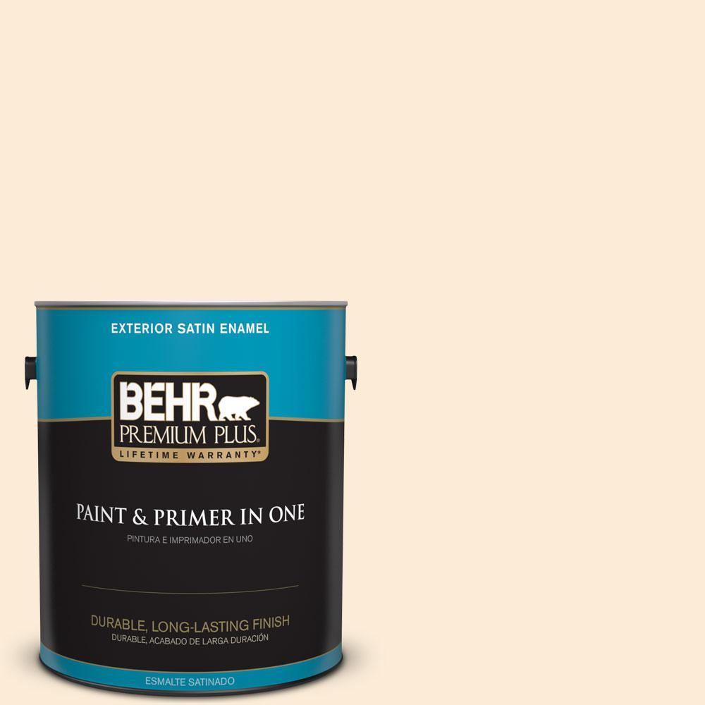 BEHR Premium Plus 1-gal. #ICC-90 Butter Yellow Satin Enamel Exterior Paint