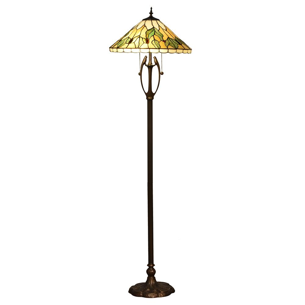 66 in. Fox Glacier 2-Light Floor Lamp with Tiffany Art Glass