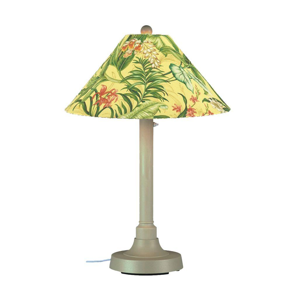 Patio Living Concepts San Juan 34 in. Outdoor Bisque Table Lamp with Soleil Shade
