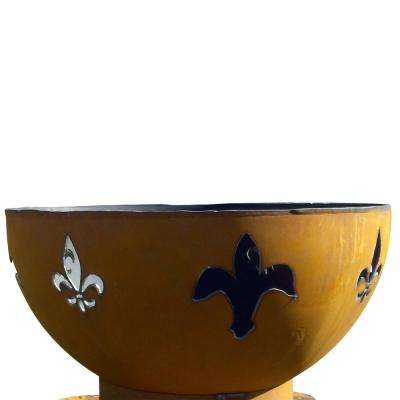 Fleur De Lis 37.5 in. x 23 in. Round Carbon Steel Liquid Propane Fire Pit in Iron Oxide with Lava Rock and Flex Line Kit