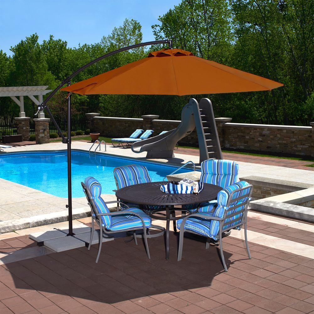 Ordinaire Island Umbrella Santiago 10 Ft. Octagonal Cantilever Patio Umbrella In  Terra Cotta Olefin