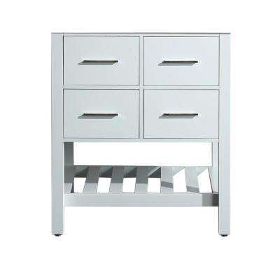 29 in. Main Cabinet Only in White with Matte/Polished Chrome Hardware