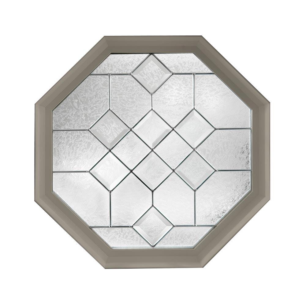 Hy-Lite 23.25 in. x 23.25 in. Decorative Glass Fixed Octagon Vinyl Window - Driftwood