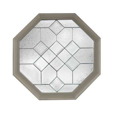 23.25 in. x 23.25 in. Decorative Glass Fixed Octagon Geometric Vinyl Window in Driftwood