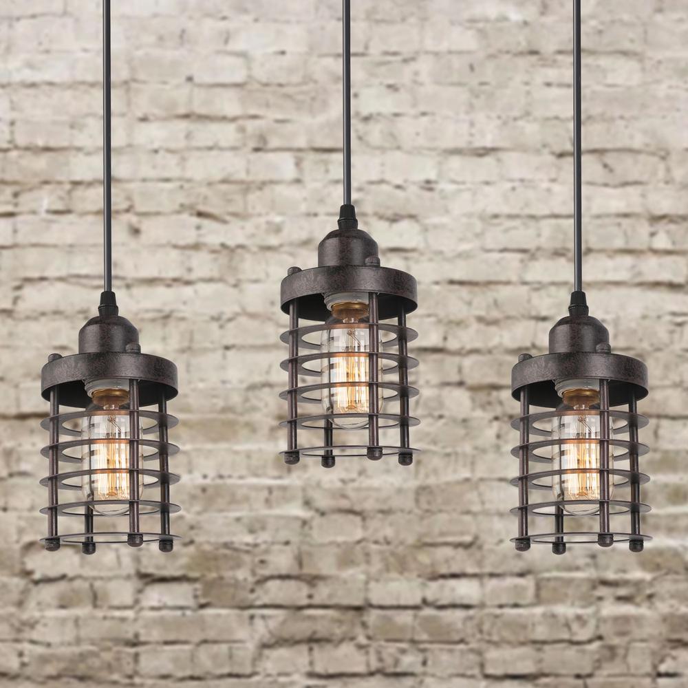Industrial 1-Light Modern Bronze Globe Mini Cage Rustic Island Bar Ceiling Pendant Light