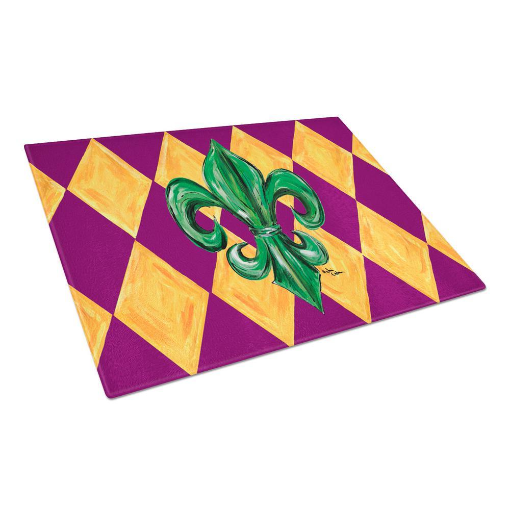 Mardi Gras Fleur-de-lis Purple Green and Gold Tempered Glass Large Cutting Board