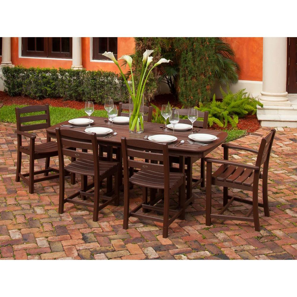 POLYWOOD La Casa Cafe Mahogany 7 Piece Plastic Outdoor Patio Dining Set