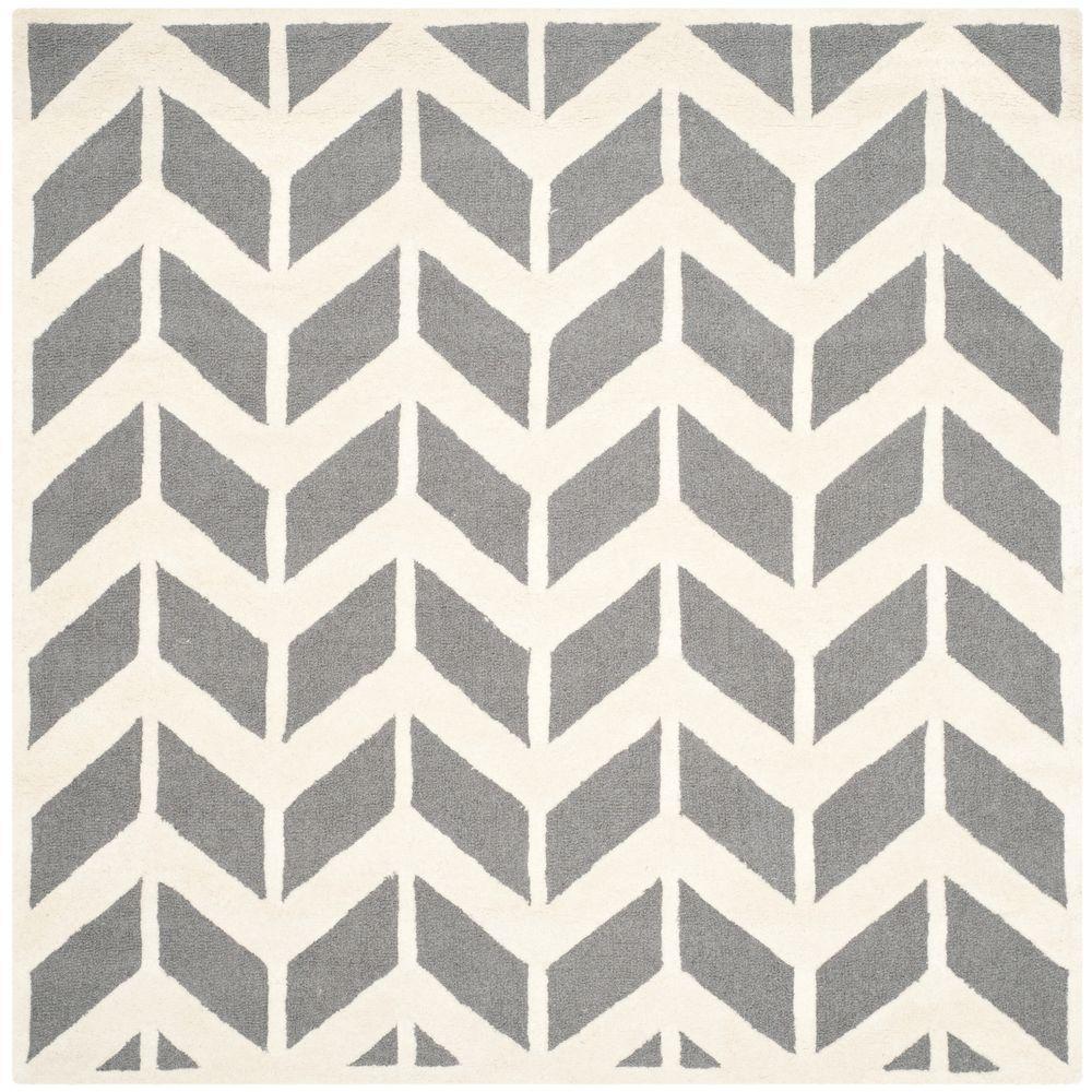 Cambridge Dark Gray/Ivory 6 ft. x 6 ft. Square Area Rug