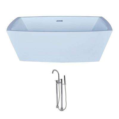 Arthur 5.6 ft. Acrylic Classic Freestanding Flatbottom Non-Whirlpool Bathtub in White and Sol Faucet in Chrome