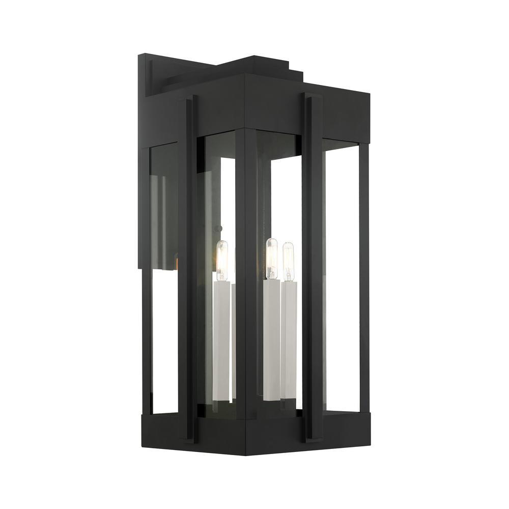 Lexington 4-Light Black Outdoor Wall Lantern Sconce