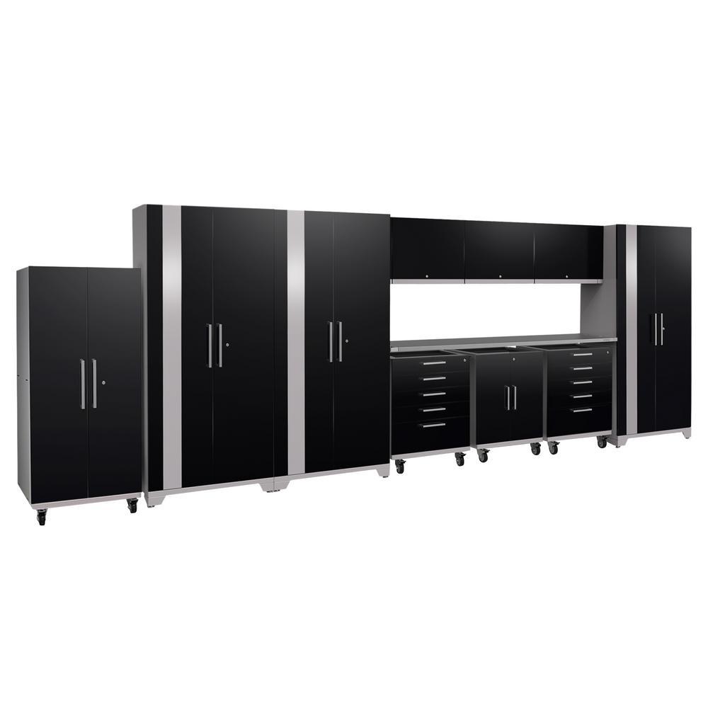 Performance Plus 2.0 80 in. H x 225 in. W x 24 in. D Steel Garage Cabinet Set in Black (11-Piece)