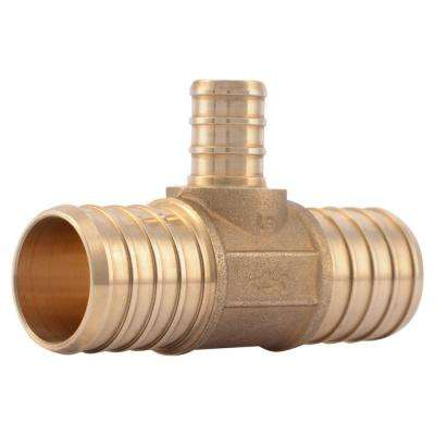 1 in. x 1 in. x 1/2 in. PEX Barb Brass Reducer Tee Fitting