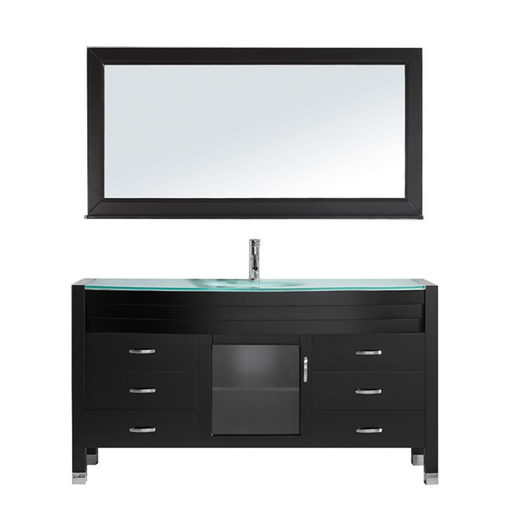 Virtu USA Ava 62 in. W Bath Vanity in Espresso with Glass Vanity Top in Aqua Tempered Glass with Round Basin and Mirror and Faucet