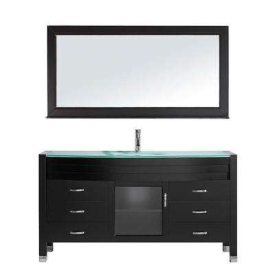 Ava 62 in. W Bath Vanity in Espresso with Glass Vanity Top in Aqua Tempered Glass with Round Basin and Mirror and Faucet