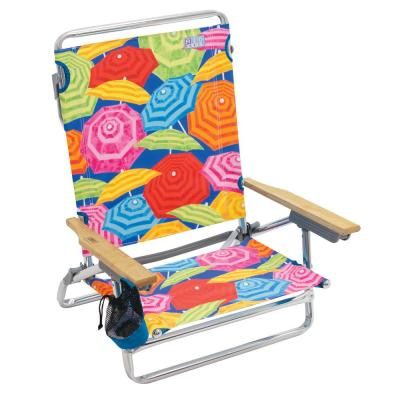 5-Position Lay Flat Classic Striped Designer Aluminum Beach Chair with Hardwood Armrests