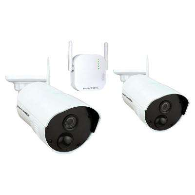 4-Channel 1080p 16GB MicroSD Card Wireless Surveillance System with 2-Wireless Cameras