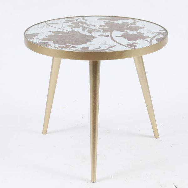 Metal & Mirror Flower Accent Table