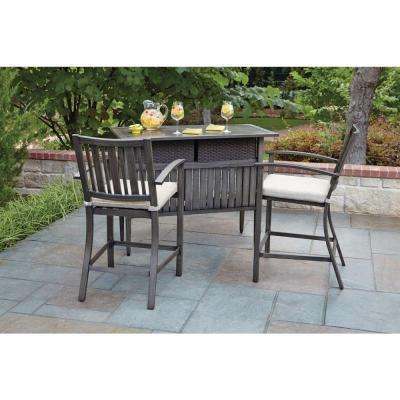 Lancaster 3 Piece Aluminum Wood Look Patio Bar Set With Beige Cushions