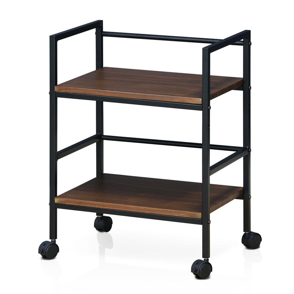 Modern MDF 4-Wheeled Storage Cart in Dark Walnut