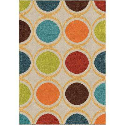 Color Circles Ivory 5 ft. x 8 ft. Indoor Area Rug