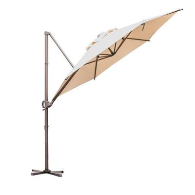 9 ft. Offset Cantilever Adjustable Vertical Tilt Patio Umbrella in Beige