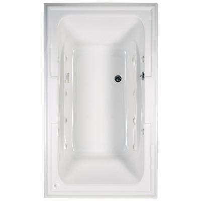 Town Square 72 in. x 42 in. Center Drain EcoSilent Whirlpool Tub in White