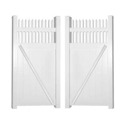 Tremont 7.4 ft. W x 5 ft. H White Vinyl Privacy Double Fence Gate