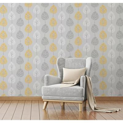 56.4 sq. ft. Alder Grey Tree Wallpaper