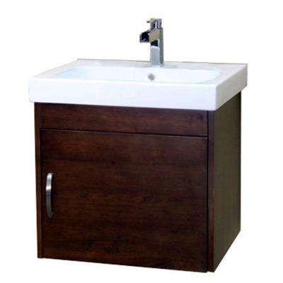 Randstad S 25 in. W Single Vanity in Walnut with Porcelain Vanity Top in White