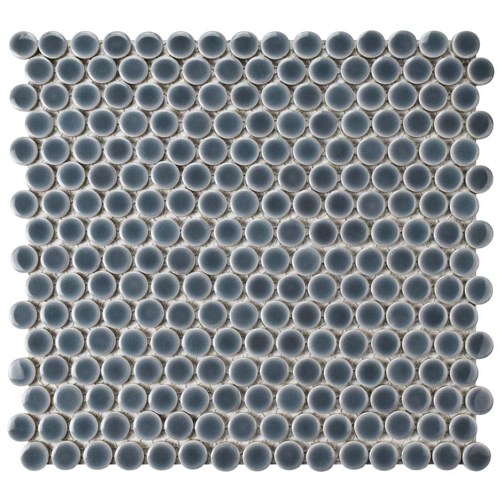 Merola Tile Hudson Penny Round Imperial Grey 12 In X 5 8