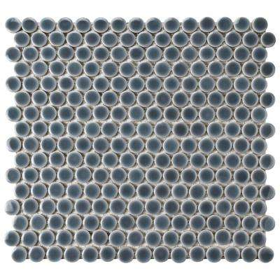 Hudson Penny Round Imperial Grey 12 in. x 12-5/8 in. x 5 mm Porcelain Mosaic Tile