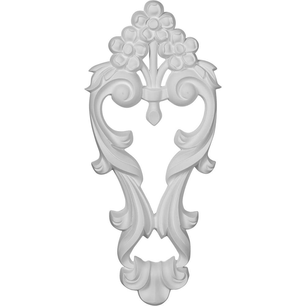 Ekena Millwork 1-1/8 in. x 7-1/8 in. x 16 in. Polyurethane Medium Flowers with Flowing Leaves Drop Onlay