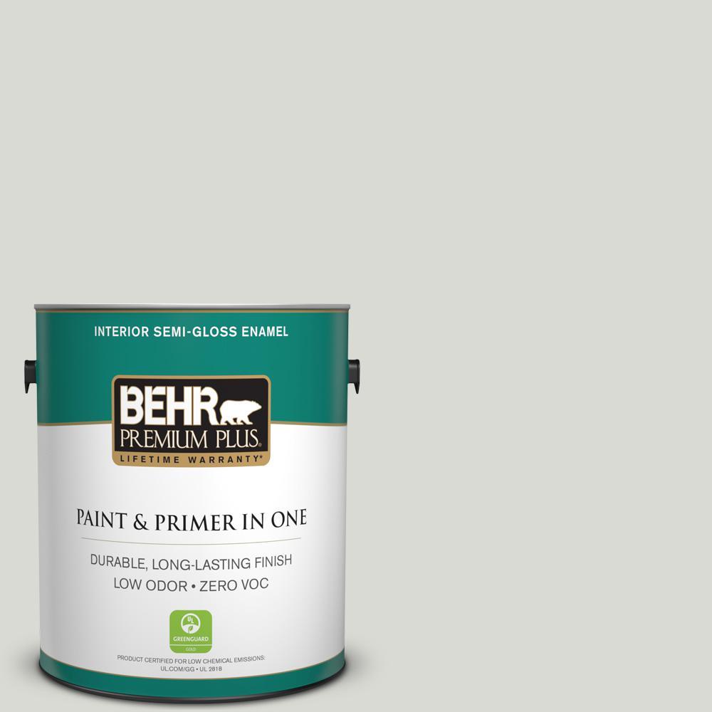 BEHR Premium Plus 1-gal. #ICC-23 Silver Tradition Zero VOC Semi-Gloss Enamel Interior Paint