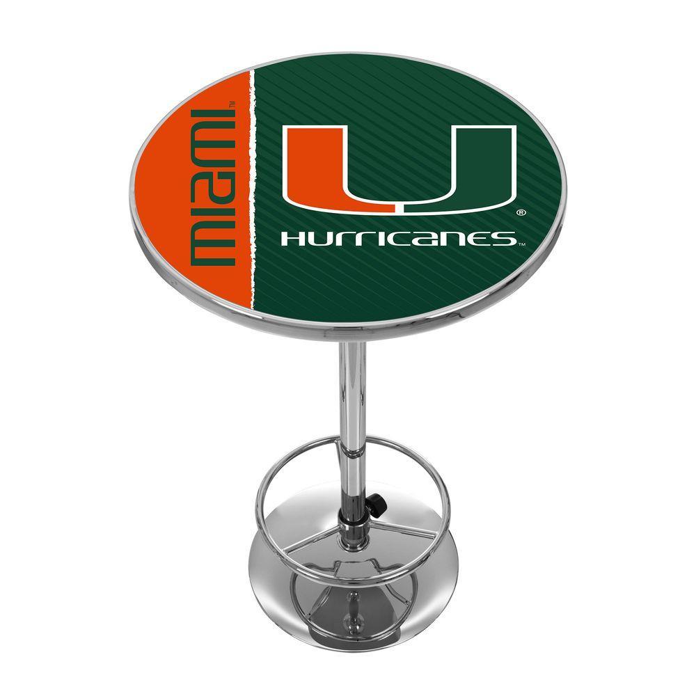 University of Miami Text Chrome Pub/Bar Table