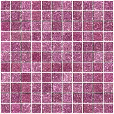 12 in. x 12 in. x 4 mm Tile'ESQUE Barbie Pink Glitter Glass Mesh-Mounted Mosaic Tile