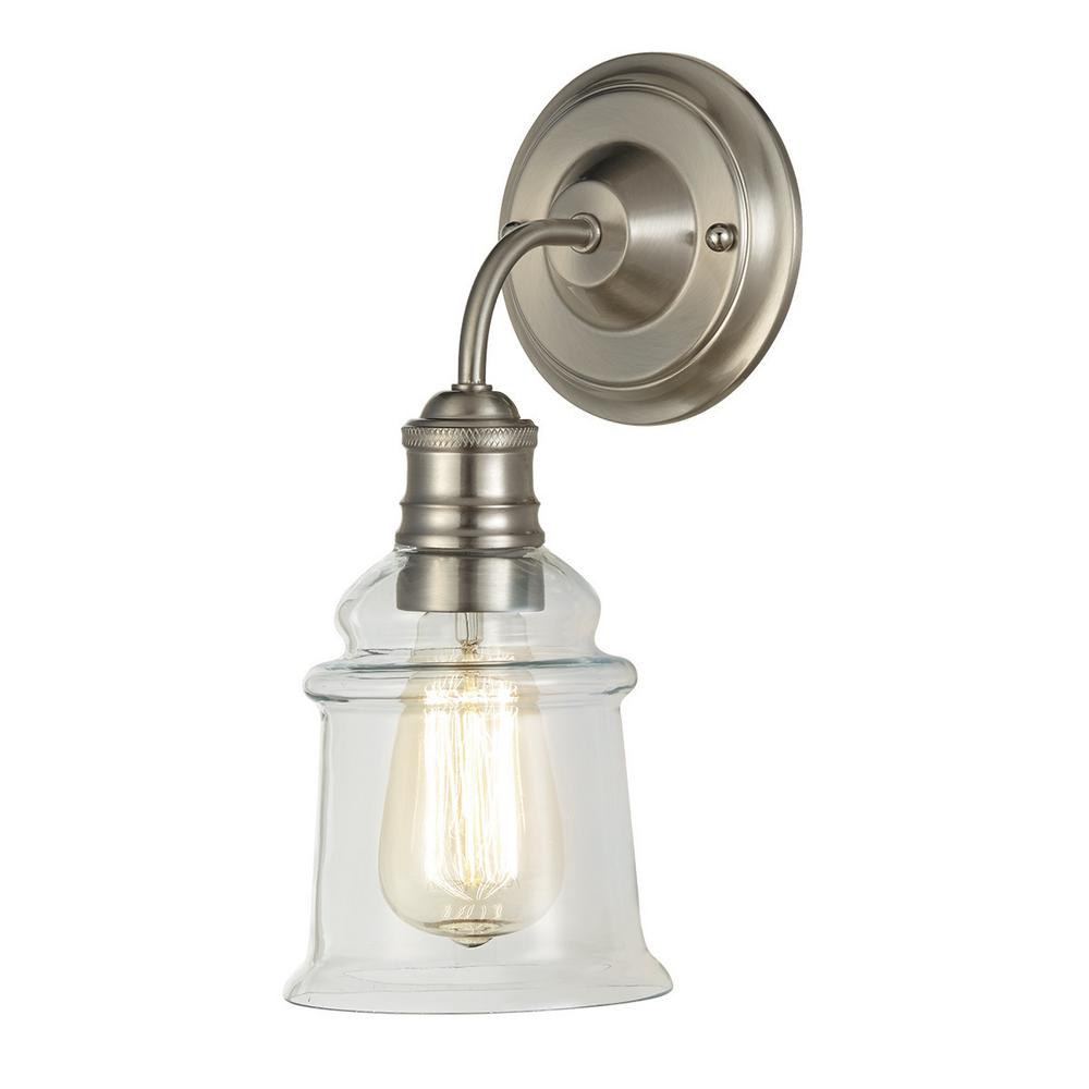 1 Light Brushed Nickel Wall Sconce With Clear Glass