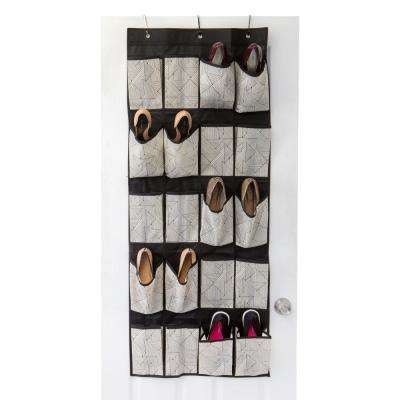 0.25 in. x 17.25 in. x 33.5 in. Geo Natural 20 Pocket Over the Door Shoe Organizer