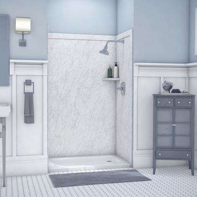 Elegance 36 in. x 48 in. x 80 in. 9-Piece Easy Up Adhesive Alcove Shower Wall Surround in Frost